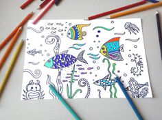 kids coloring page sea fishes instant download colouring adult children diy black white zen printable print digital fishes lasoffittadiste