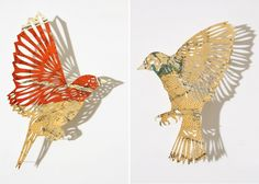 Cut paper birds by Claire Brewster