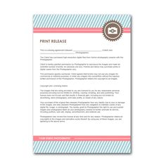 Photography business forms templates on pinterest for Free photography print release form template