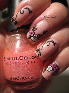 Nail art: Flowers on pink glitter by Cajanails http://www.youtube.com/cajanails
