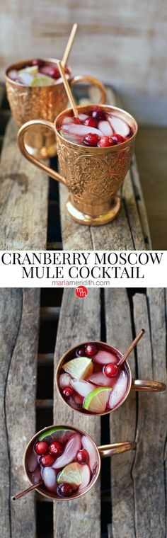 Our Cranberry Moscow Mule Cocktail would be so beautiful at your holiday table! MarlaMeridith.com ( @marlameridith ) #cocktail #recipe