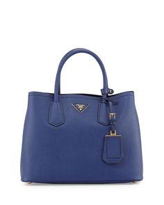 V22ZD Prada Saffiano Cuir Small Double Bag, Dark Blue (Inchiostro)