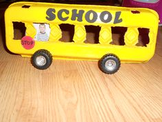 diy school bus picture frame Use for turn taking moving bus while singing wheels on bus. Also makes connection to child going on bus to his school