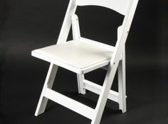 Folding Chair, White with White Padded Seat