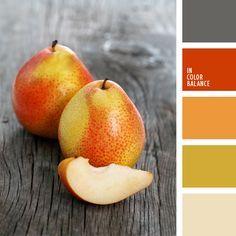 anaranjado y rojo, color amarillo verdoso, color madera gris, color pera amarilla, combinación de colores, elección del color, elección del color para hacer una reforma, gris y verde, rojo y anaranjado, tonos anaranjados, verde amarillento.