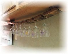 Wine Barrel Stave Under Cabinet Hanging Glass Rack