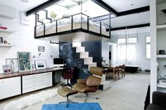 """Good use of space. Loving the suspended bed! """"Suspended bed under a skylight Source """" Furniture For Small Spaces, Small Rooms, Tiny Spaces, Small Apartments, Studio Apartments, Bedroom Small, Smart Furniture, Furniture Design, Open Spaces"""