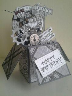 Masculine Card in a box - Voor wie de cursus 'Kaarten en kado-envelopjes maken' bij Marjolein Zweed Creatief heeft gedaan. Dit is ook een leuke variant op de doosjes-kaart.