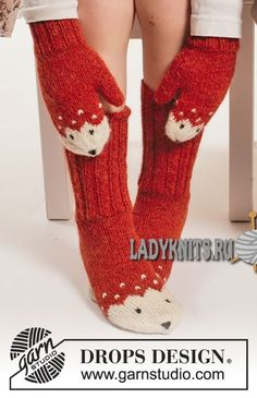 """Miss Fox / DROPS Extra - Set consists of: Knitted DROPS mittens, hat and socks with fox pattern in """"Alpaca"""". Design dansk Miss Fox Mittens pattern by DROPS design Fox Pattern, Mittens Pattern, Knit Mittens, Knitted Gloves, Knitting Socks, Knit Cowl, Knitting Patterns Free, Free Knitting, Baby Knitting"""
