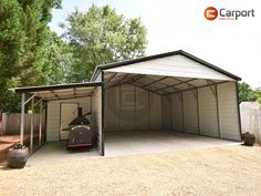 This 22'-wide metal #carport with utility lean-to is perfect for #parking #vehicles and for securely storing yard equipment, tools or other items. Plus, this uniquely-designed steel structure looks great, too! Call (866) 311-0822 & mention ITEM: 222510VRC to connect with a friendly building specialist about personalizing your own #building! Lean To Carport, Carports For Sale, Metal Carports, Steel Structure, Green Trees, Prefab, Bright Green, Neutral Colors, Seasonal Decor