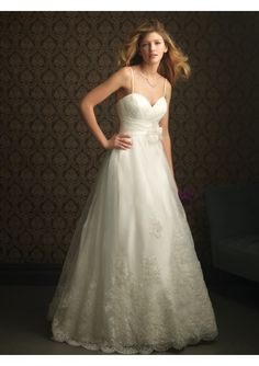 Embroidery Satin sweetheart neckline empire Wedding Dress with embroidered sweep train