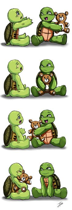 A lesson in compassion by BakaMeganekko on deviantART. Those cute little chubby arms are so cute. Wittle baby Raph and Mikey