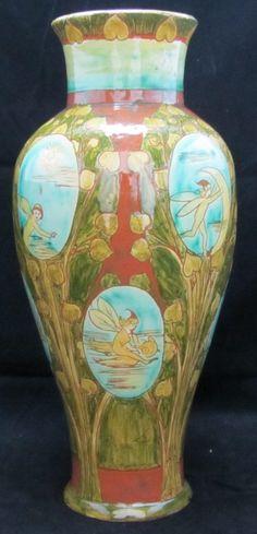 Della Robbia Art Nouveau Vase decorated with Fairies