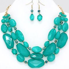 Chunky Teal Turquoise Bead Beaded Layered Layer Gold Tone Statement Necklace Set