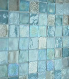 sea glass tile back splash. sea glass tile back splash. Small Shower Baths, Small Showers, Beach Bathrooms, Hall Bathroom, Master Bathroom, Glass Bathroom, Bathroom Ideas, Mermaid Bathroom, Coastal Bathrooms