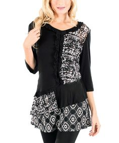 Another great find on #zulily! Black & White Ruffle Patchwork Tunic by Aster #zulilyfinds