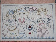 Vintage Embroidery, Embroidery Stitches, Embroidery Patterns, Hand Embroidery, Sewing Art, Love Sewing, Red Brolly, Lavender Bags, Lap Quilts