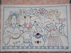 Caminho de mesa bordado - detalhe | par MariaRê