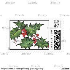 Holly Christmas Postage Stamp