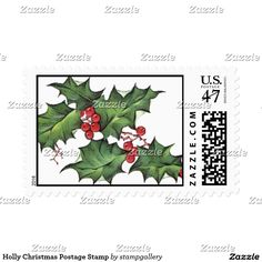 Holly Christmas custom Postage Stamps.