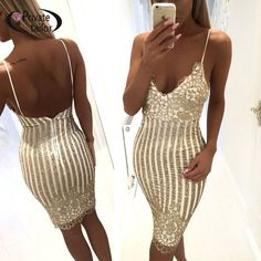 New Women's Sexy Halter Dress Backless Package Hip Bling Bling Sequined Dress 852 $19.95 @ http://thesuperstyle.com $19.95 Gender: Women Dresses Length: Knee-Length Brand Name: Porzingis Model Number: 852 Season: Spring Neckline: Halter Style: Vintage Sleeve Length: Sleeveless Material: Polyester,Cotton Sleeve Style: Regular Pattern Type: Solid Silhouette: Sheath Decoration: None Waistline: Natural  size Chest Width(cm) Waist Width(cm) Skirt length(cm)  S 88 66 88  M 92 70 89  L 96 74 90  XL…