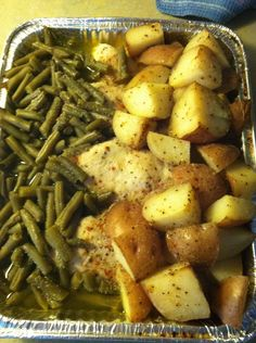Chicken Bake: 4 chicken breasts; 8 red potatoes; 2 cans green beans. Cover with stick of melted butter and sprinkle packet of italian seasoning over top. Bake 350 for 1 hour.