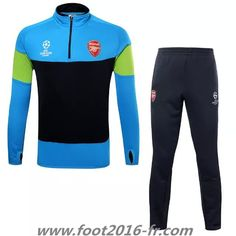 Grossiste Nouveau Survetement de foot Arsenal bleu/noir football 2015 2016