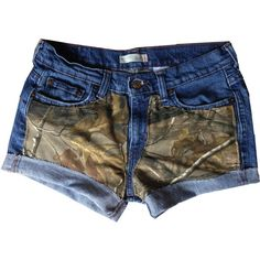 These shorts are stitched with camo fabric (the hunting camo). The brand of shorts will vary per pair but I try my best to use good, well-known brands (America…