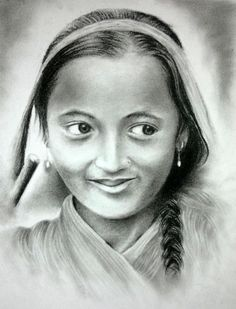 Nepali Girl - Sketching by का लू in CH@RCO@L at touchtalent 67647