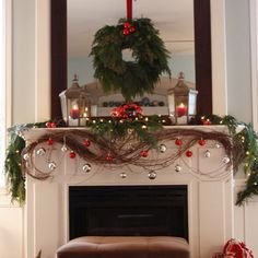 christmas mantle..love the ornaments... and that it goes under the mantle....