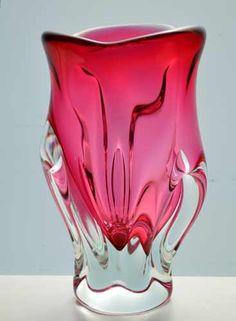 CZECH ART GLASS CHRIBSKA VASE DESIGNED BY PROF JOSEF HOSPODKA IN THE 1970s