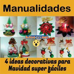 4 ideas decorativas para navidad super faciles Vocaloid Kaito, Diy, Christmas Bulbs, Holiday Decor, Ideas, Home Decor, Glass Containers, Recycled Bottles, Recycled Materials