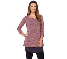 LOGO by Lori Goldstein V-Neck Knit Top with Curved Hem Tank Twin Set