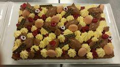 Choc sponge/ passion fruit mousse/ choc mousse/ raspberry jelly