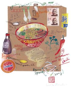 Kitchen art chinese food recipe asian decor cooking brown illustration poster. $38.00, via Etsy.