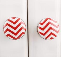 Red Striped Flat Ceramic Knob (Set of Two Piece)