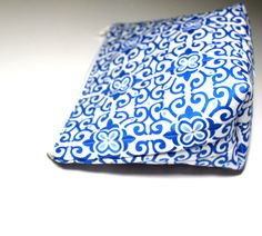 Blue White Cosmetic Makeup Flat Bottom Bag by KallieLilyS on Etsy, $14.00
