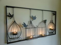 BIRDCAGE TEA LIGHT WALL ART, METAL, WALL HANGING, CANDLE HOLDER, BLACK BIRD CAGE | eBay ~ I love this!! ༺в༻