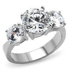 4.7CT Perfect Three Stone Journey Russian Lab Diamond Stainless Steel Engagement Anniversary Ring