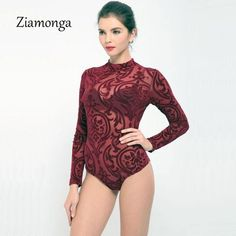 27f21d8416 Ziamonga Transparent Mesh Print Sexy Bodysuit Women Top Fashion Long Sleeve  Turtleneck Jumpsuit Women Playsuit Combinaison