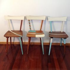 Dining Chairs Vintage Solid Wood 1960's with Geometric Detailing | Sillas Vintage