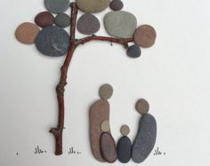 Christmas family gift Pebble Art Family of five by PebbleArtDream