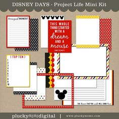 DISNEY DAYS Journaling Cards for Scrapbooking or Project Life