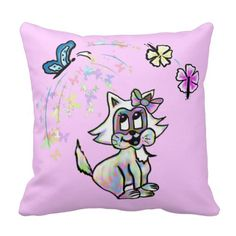 Cute colorful cat throw pillows