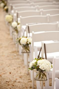 White flowers for the aisle - Love the Brown ribbon