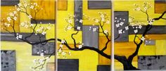 """Yellow and Gray Geometric Mix. Set of Three Paintings. 12"""" x 16"""""""
