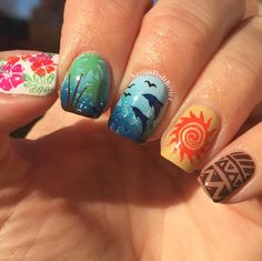 Aggies Do It Better: Disney's Moana inspired nail art with stamping! Creative Nail Designs, Cute Nail Designs, Creative Nails, Acrylic Nail Designs, Disney Acrylic Nails, Disney Nails, Moana Disney, Disney Christmas Nails, Disney Inspired Nails