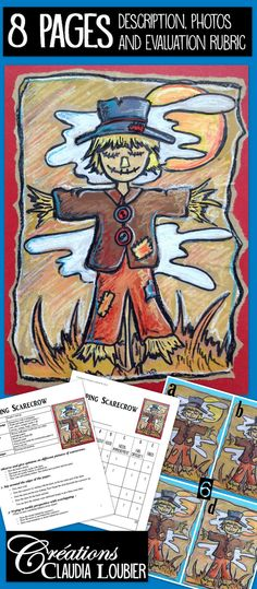 Here is an art project using the scarecrow theme. Created for grades 3 and 4, but works very well with grades 5 and 6. Work with warm and cold colours while having fun! As annexes, there are drawings to reproduce to give more ideas to your students. These drawings can also serve to occupy those who finish first. Bricolage Halloween, Halloween Art, Halloween Themes, Art Education Lessons, Art Lessons, Classroom Projects, Art Classroom, Kids Art Class, Art For Kids