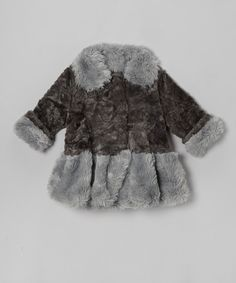 Take a look at this Charcoal & Gray Faux Fur Bubble Coat - Infant, Toddler & Girls on zulily today!
