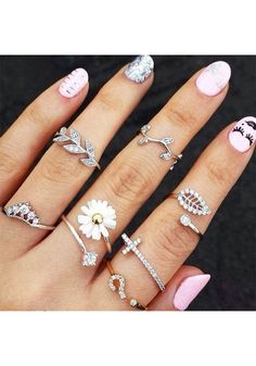 Stylish Leaves Knuckle Ring Set